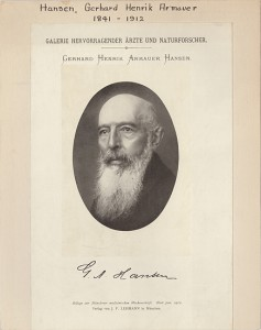 Portrait of Gerhard Henrik Armauer Hansen (1841-1914), a Norwegian physician best known for identifying Mycobacterium leprae, the bacterium that causes leprosy, or Hansen's disease. (Munich: J. F. Lehmann, 1912.) From the Osler Library Prints online.