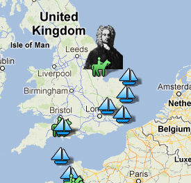 Detail from Dr. Roos' interactive map of Lister's travels.
