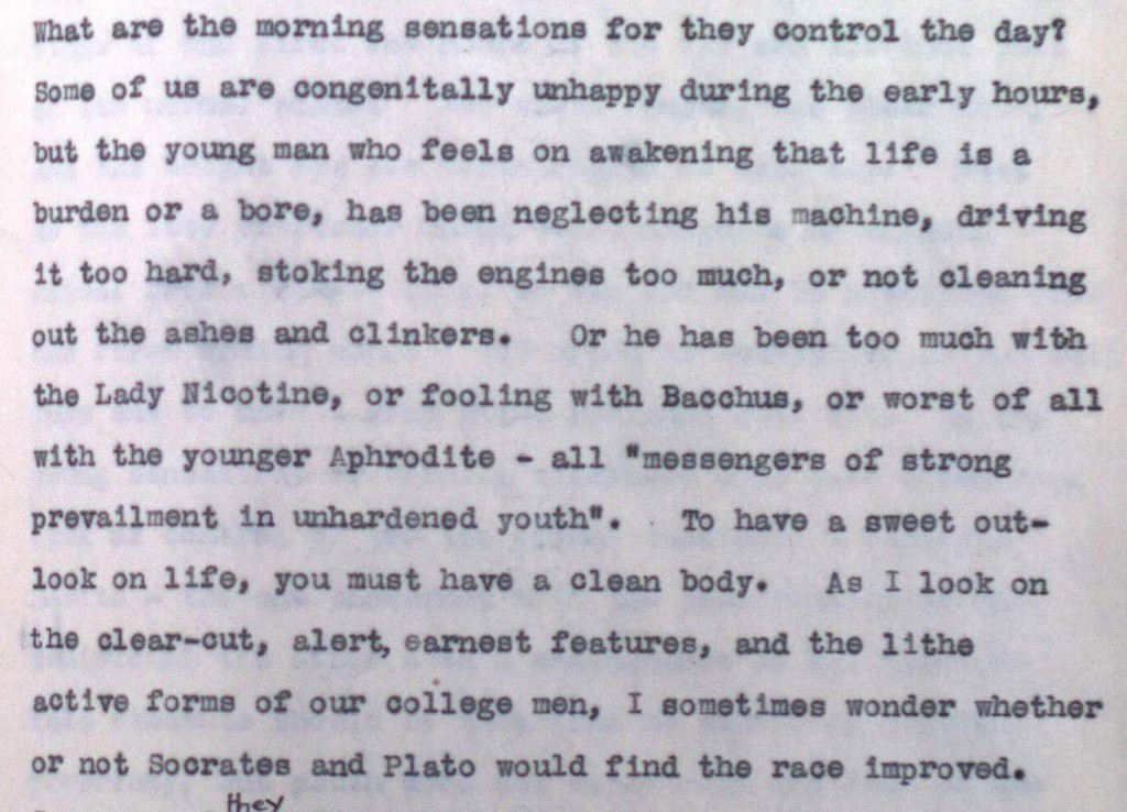 "Lady Nicotine in William Osler's speech ""A Way of Life"", 1913. Typed manuscript, Osler Library, B.O. 7653."