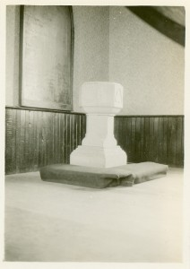 The baptismal font in Trinity Church, Bond Head, Ontario, where Sir William Osler was baptized by his father, Featherstone Lake Osler.