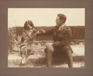 Photo of John McCrae with his dog, from the Osler Library Prints Collection, OPF000110