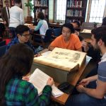 Marianopolis CEGEP students working with rare books in the Osler Library, October 2016.