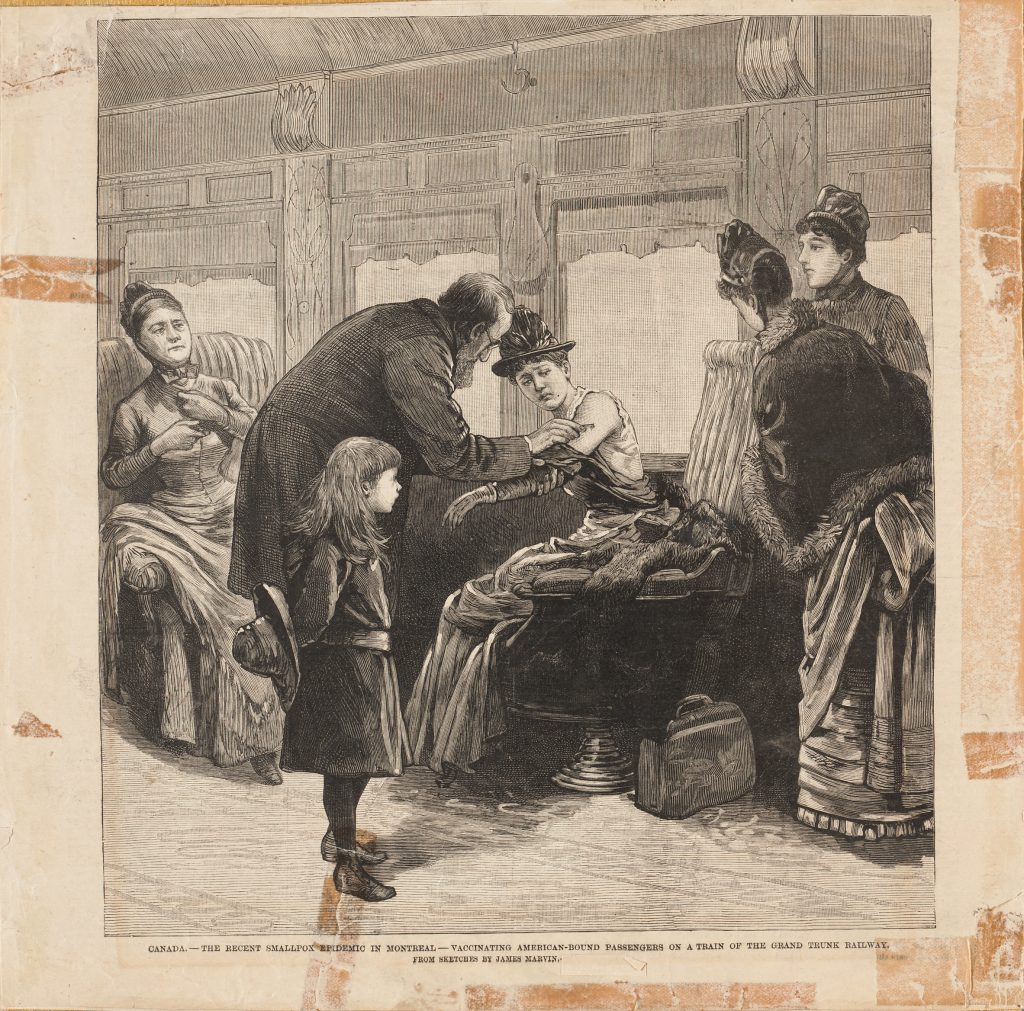 "Image of ""vaccinating American-bound passengers on a train of the Grand Trunk Railway,"" by James Marvin, 1885."