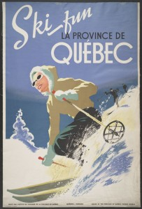 Ski Fun. Lithograph. Issued by the Province of Quebec tourist Bureau.