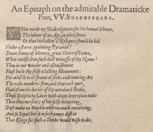 John Milton's poem on Shakespeare (lower page) in the Second Folio