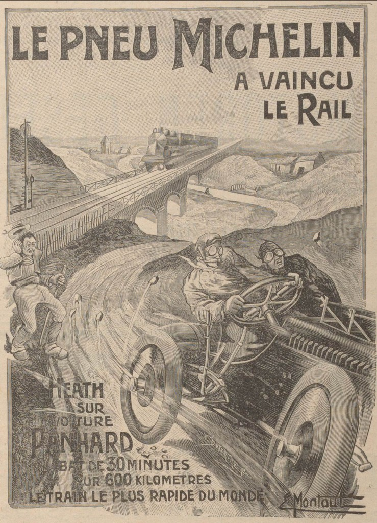 The Michelin tire beats the train! From a poster by Ernest Montaut, 1905.
