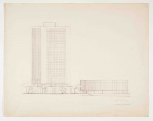 Arthur Erickson, office building south-west elevation (John Bland Canadian Architecture Collection)