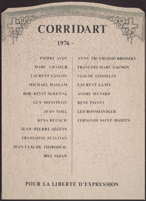Cover of our copy of the limited edition, artist proof copy, of Corridart 1976-. [Montréal : Graff, 1982] 72x52cm.