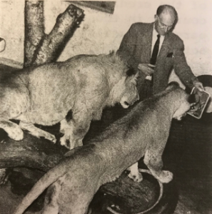 Gerald Iles shows David and Bess a Mirror. Photo by Mary Burns, found in the Society's journal The Lynx (Vol 3, No. 2 December 1974).
