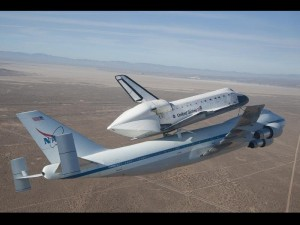 Space Shuttle Endeavour on top of NASA's Shuttle Carrier Aircraft above California